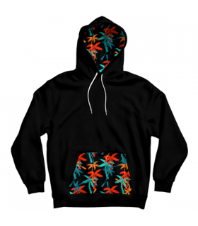 palm trees pattern pocket hoodie